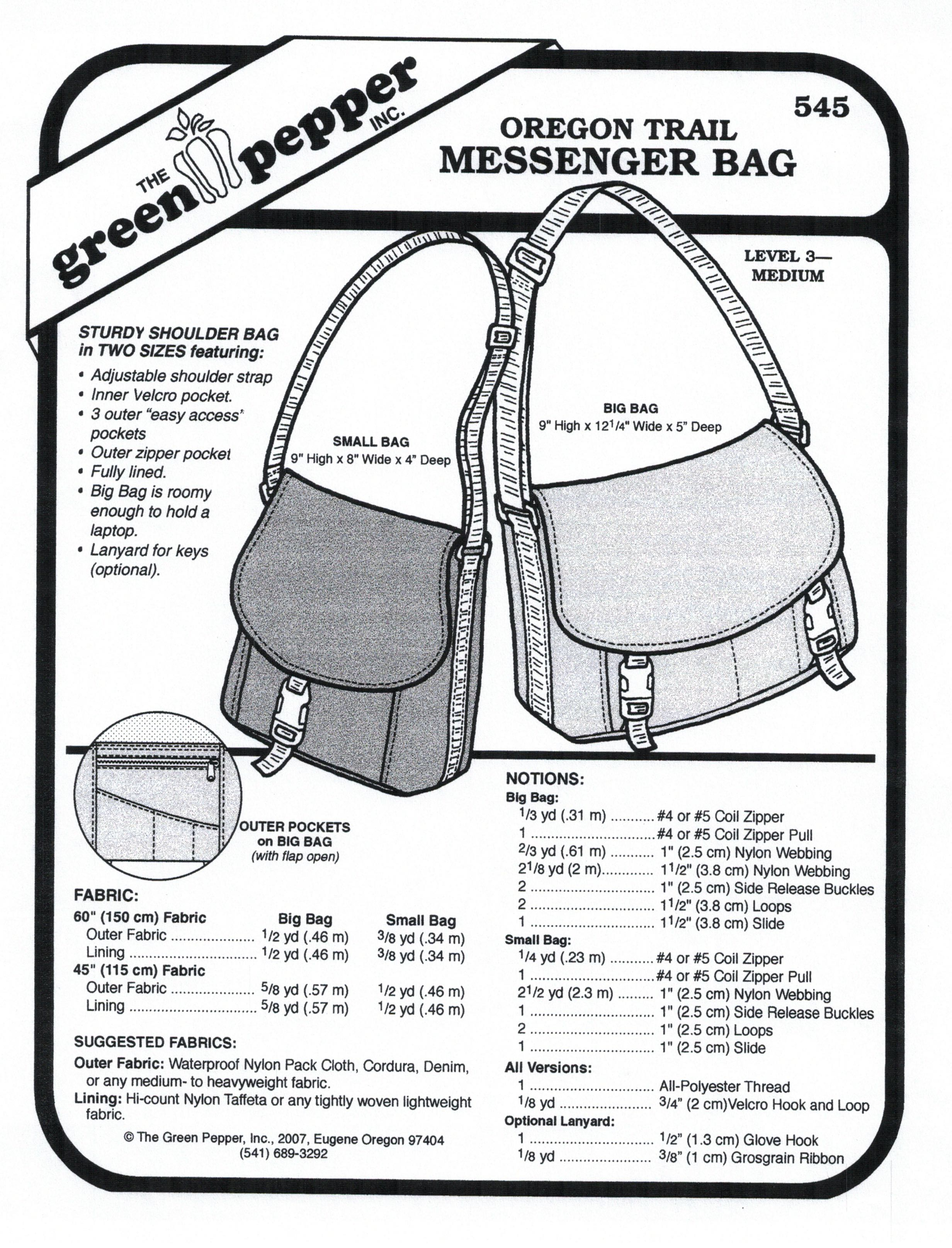 Oregon Trail Messenger Bag Sewing Pattern