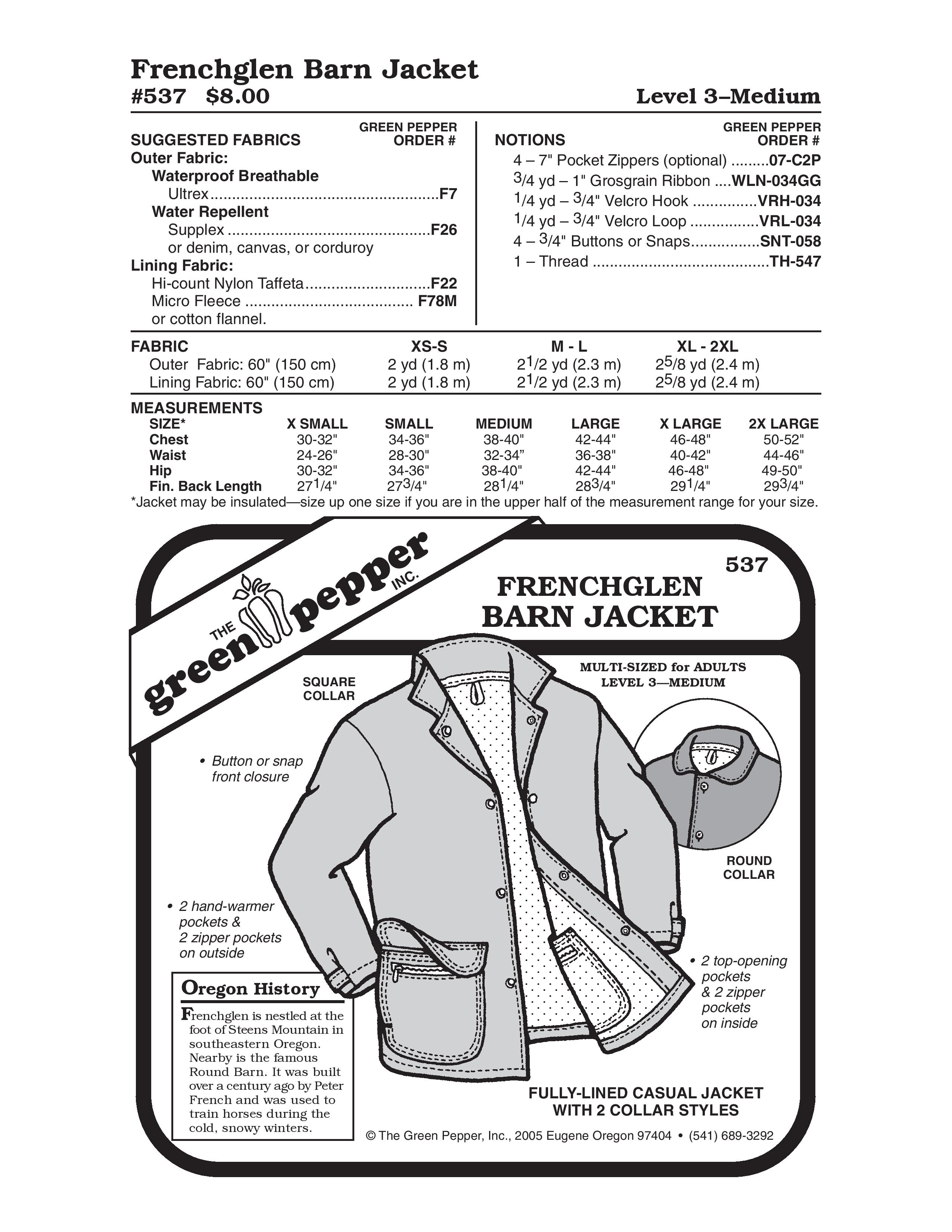 Frenchglen Barn Jacket Sewing Pattern