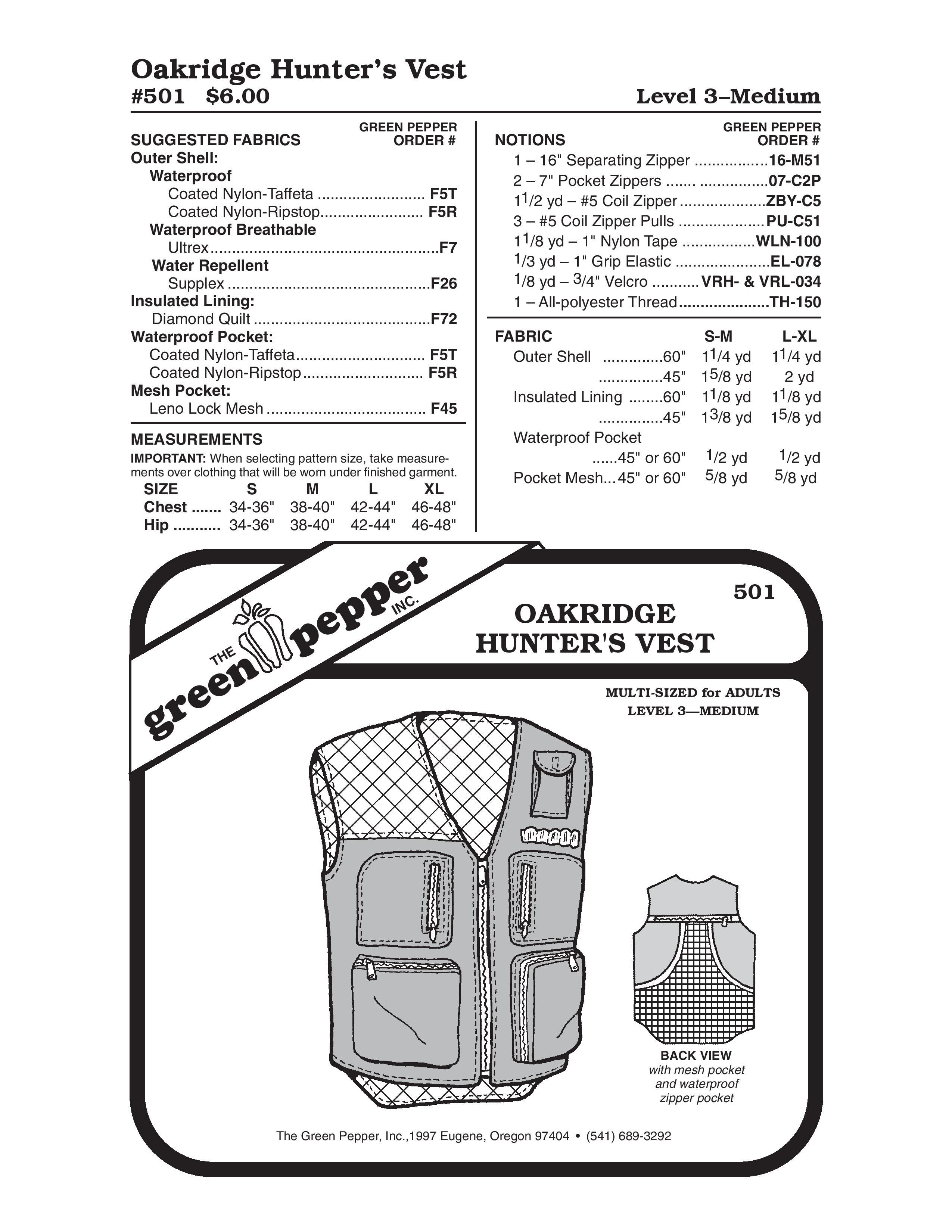 Hunter's Vest Sewing Pattern