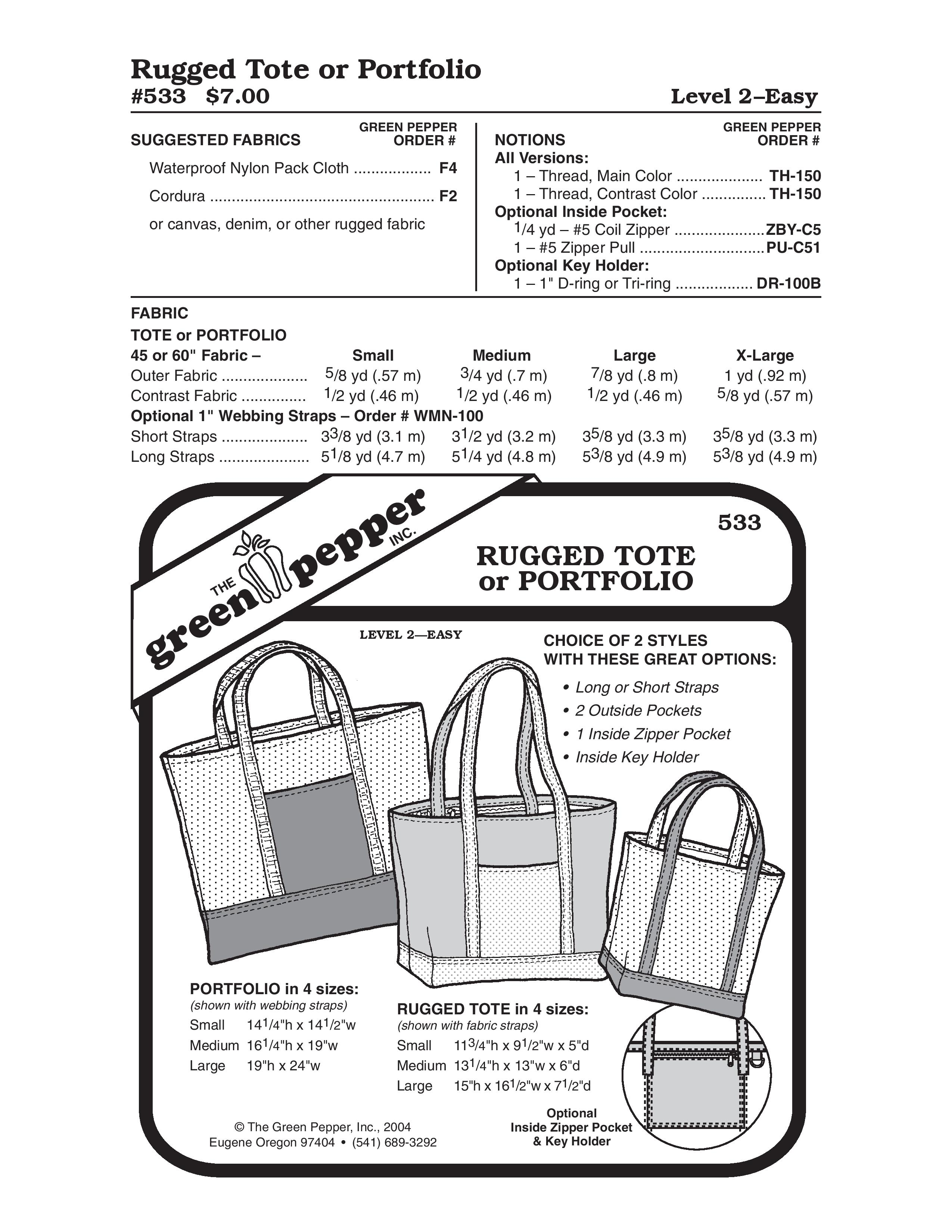 Rugged Tote or Portfolio Sewing Pattern
