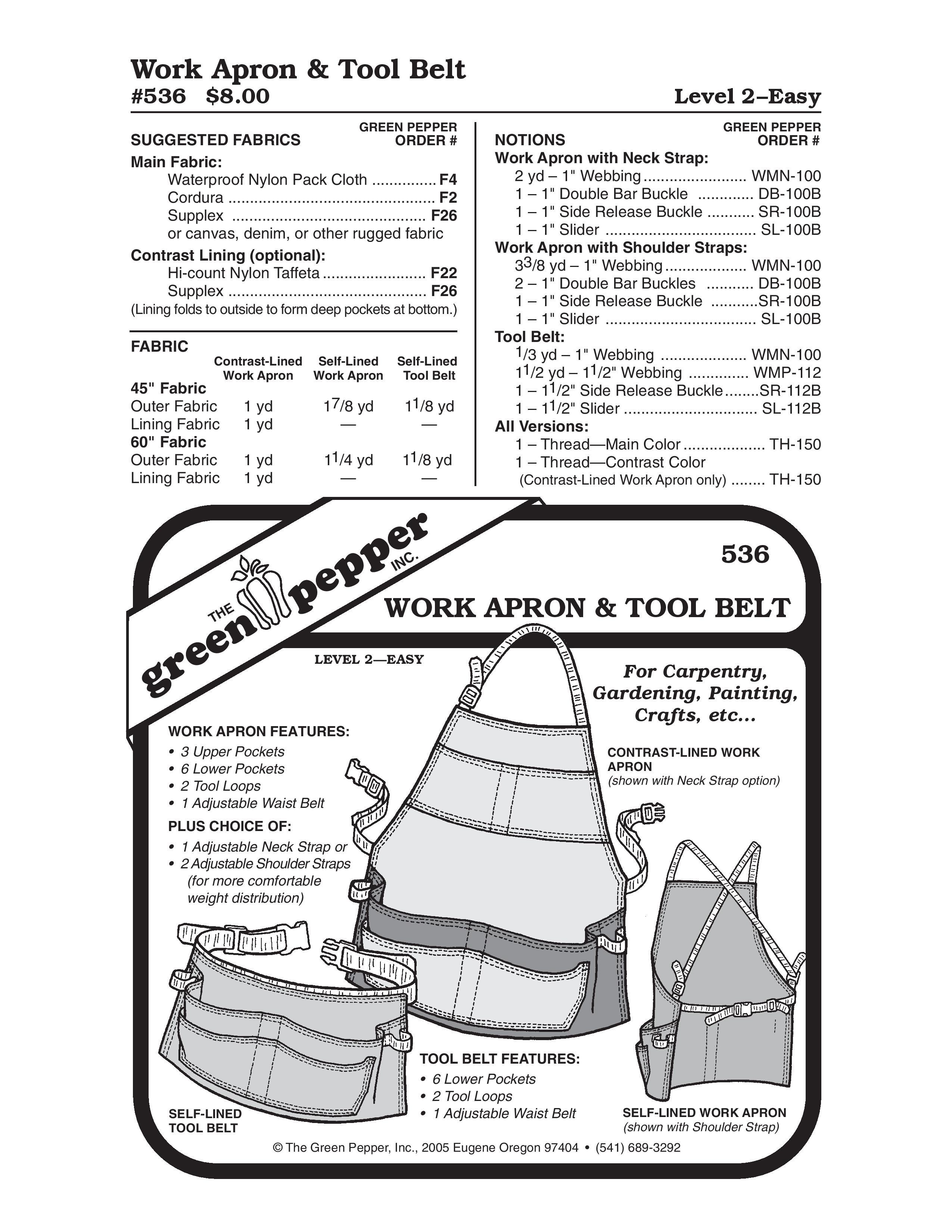 Work Apron & Tool Belt Sewing Pattern