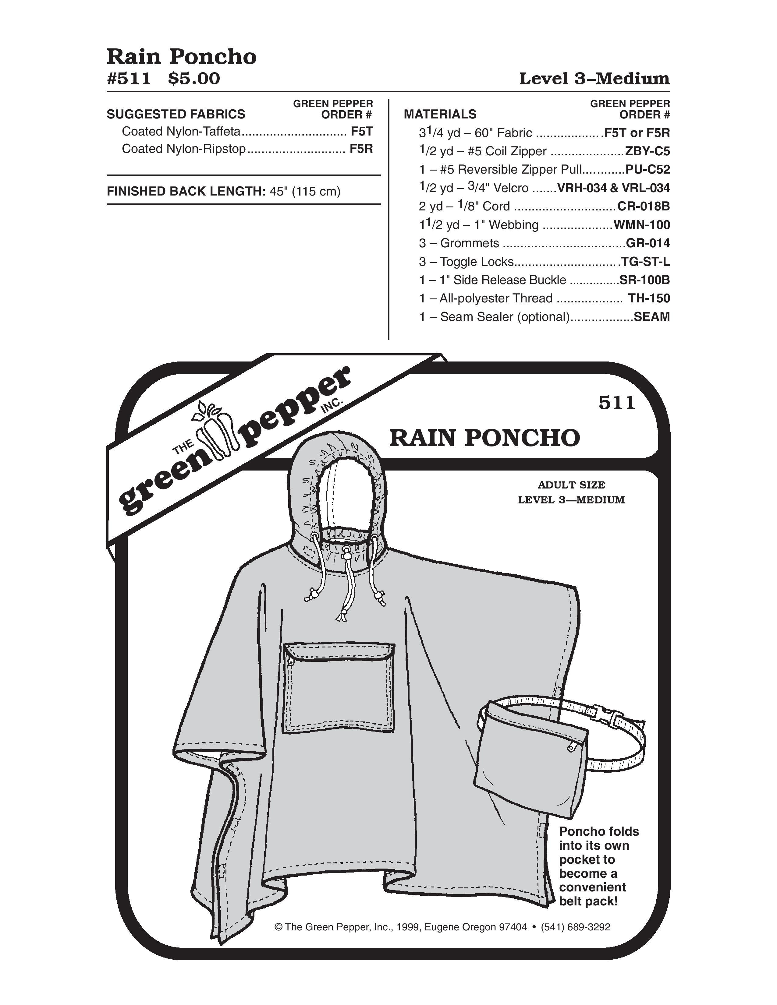 Adult Rain Poncho Sewing Pattern