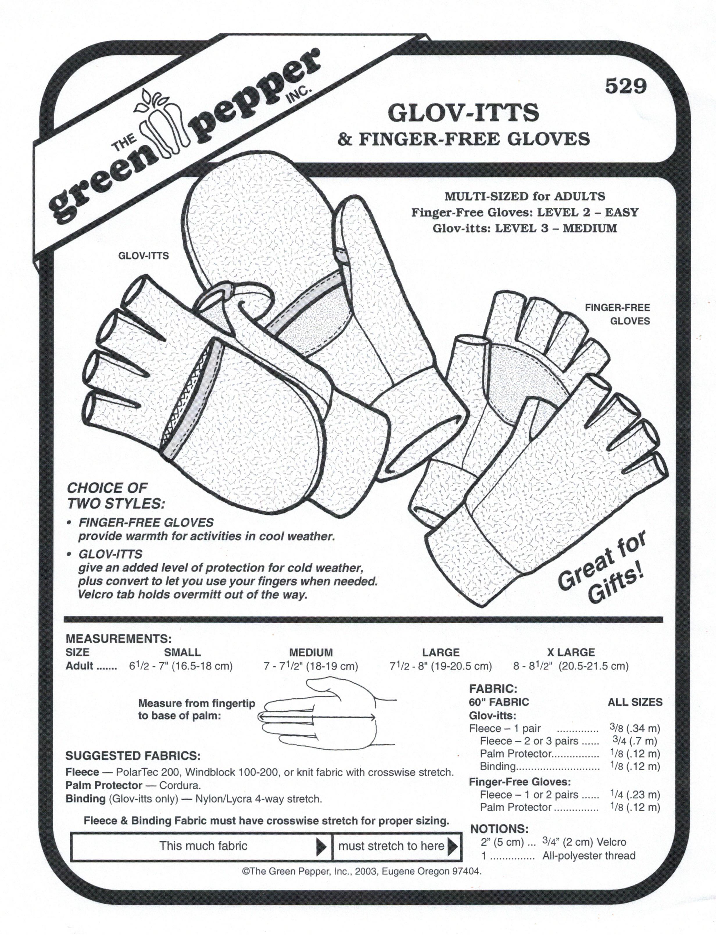 Glov-Itts & Finger-Free Gloves Sewing Pattern