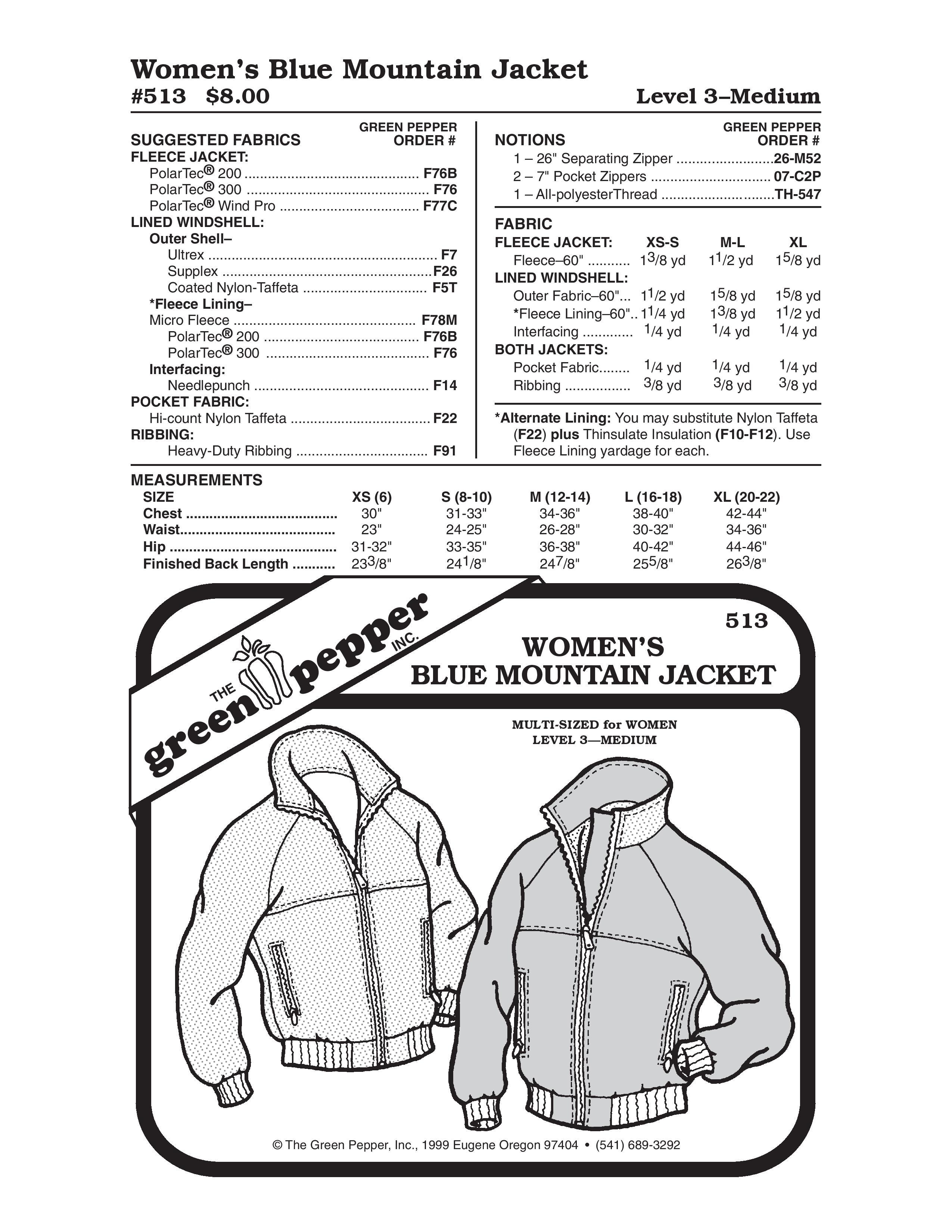 Women's Blue Mountain Jacket Sewing Pattern