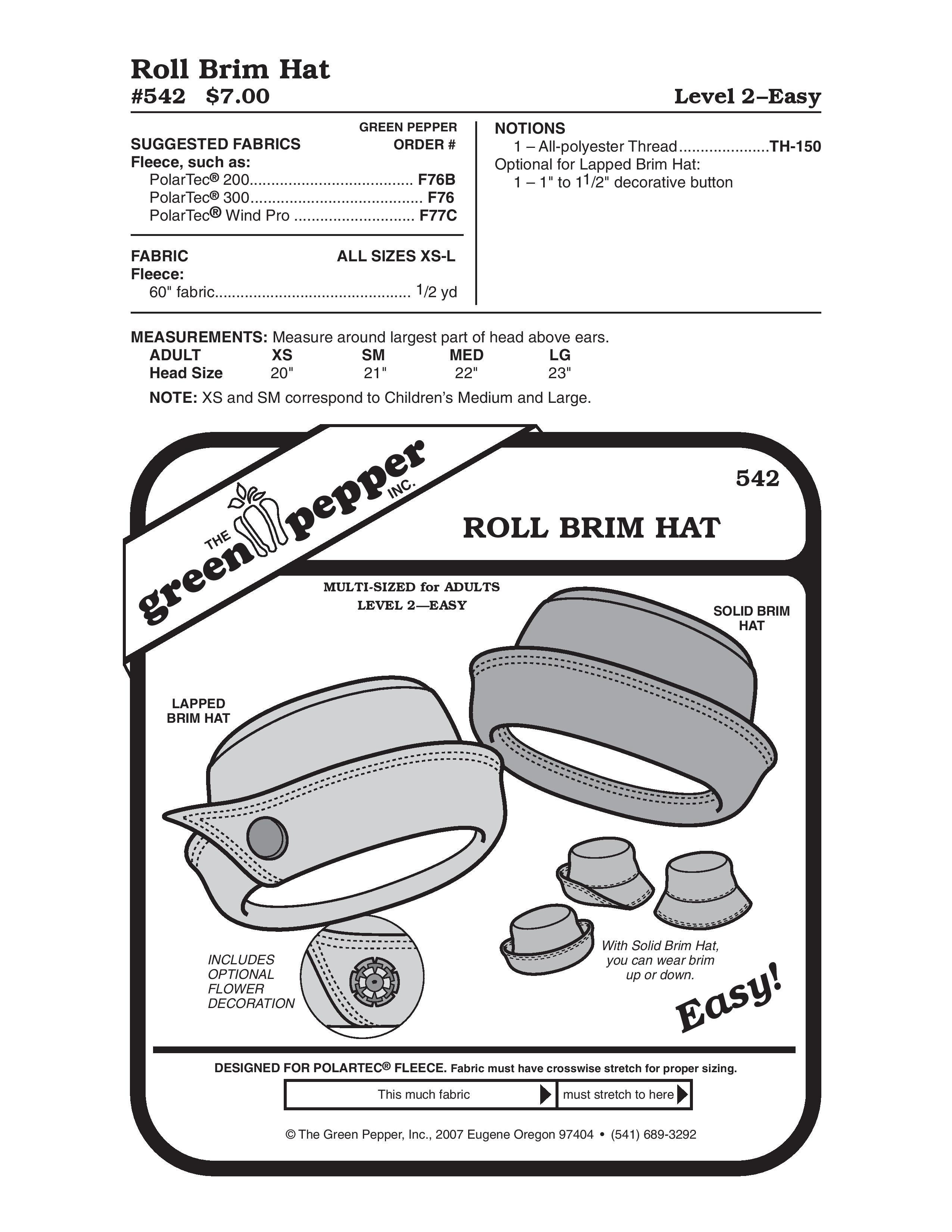 Roll Brim Hat Sewing Pattern