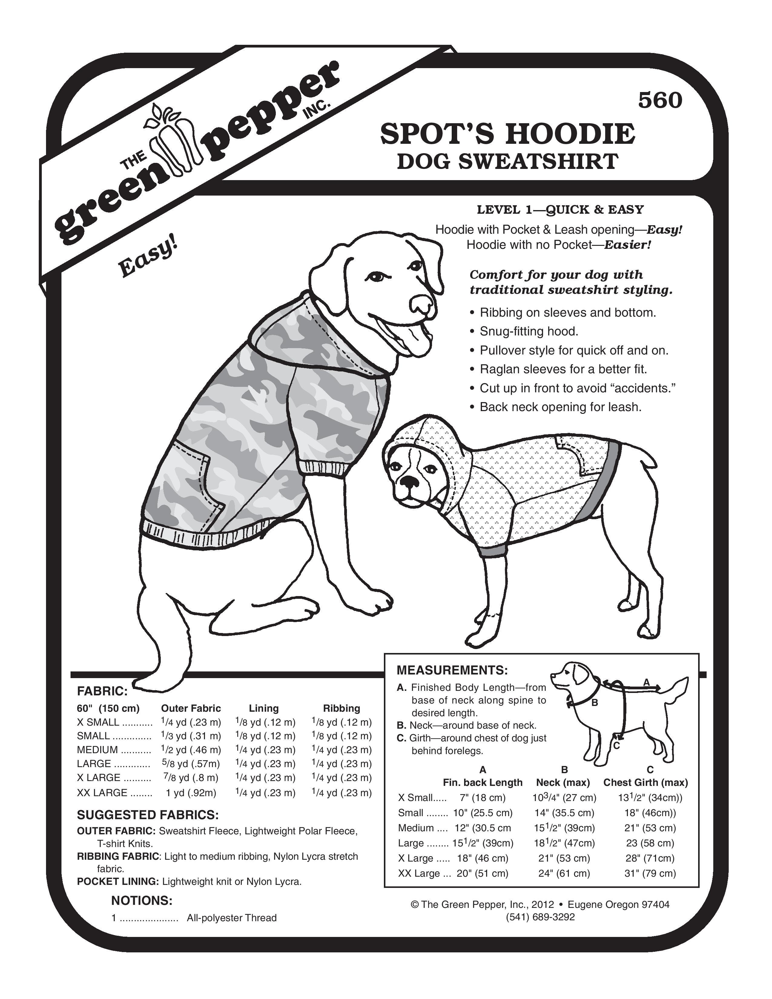 Spot\'s Hoodie Dog Sweatshirt Sewing Pattern